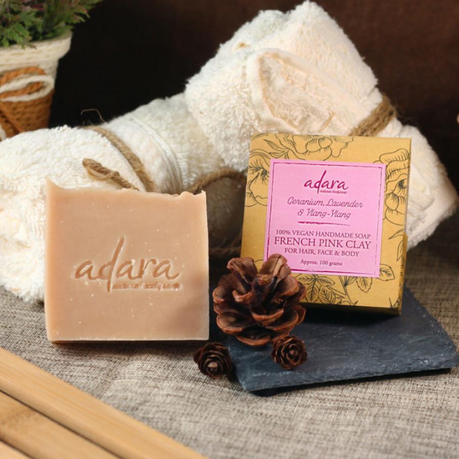 Adara Handmade French Pink Clay Soap - Geranium, Lavender & Ylang2