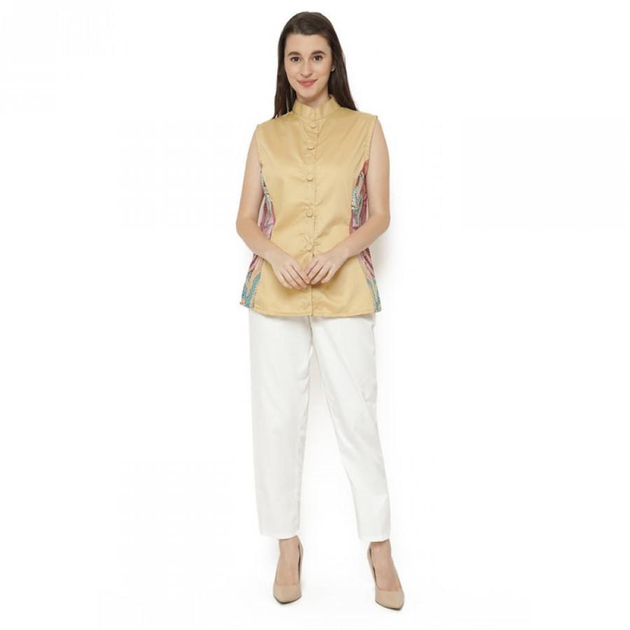 GESYAL Blus  Brokat Wanita - Creme. Untuk dalaman Jas atau luaran.