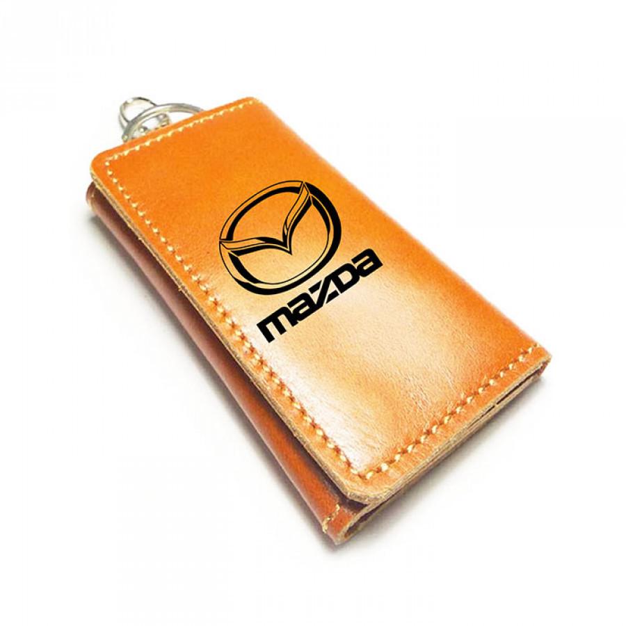 Dompet Stnk Kulit Asli Logo Mazda Warna Tan GARANSI 1 TAHUN - Gantungan Kunci Mobil Motor -