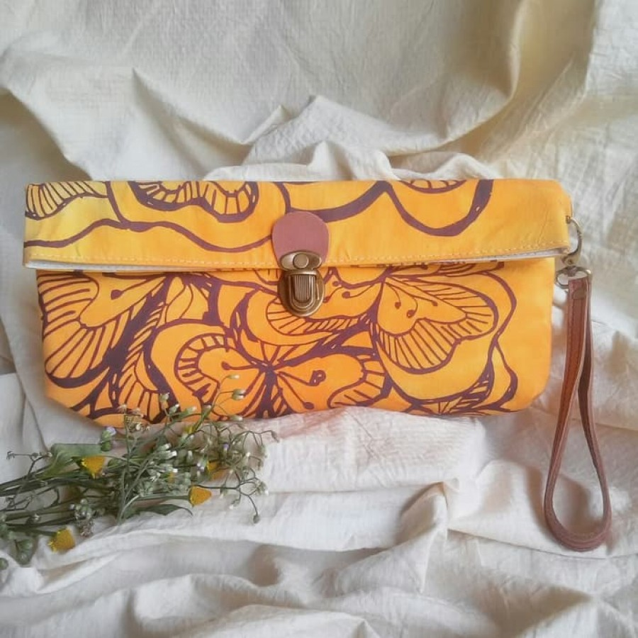 Hand Bag Orange gambar Kembang Sepatu