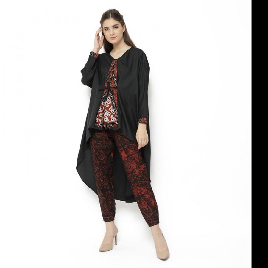 GESYAL Blouse Kimono Dress Polos Variasi Batik Atasan Blouse Dress Wanita - Hitam