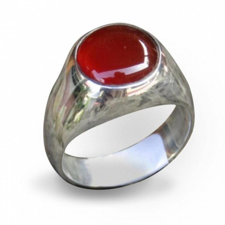 Cincin Perak Motif Simple Batu Carnelian Ku Ka