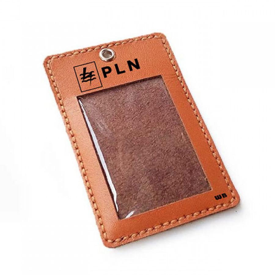 Name Tag Id Kulit Asli Logo PLN Plus Tali Logo PLN Warna Tan - Tali Id Card. Gantungan Id Card -