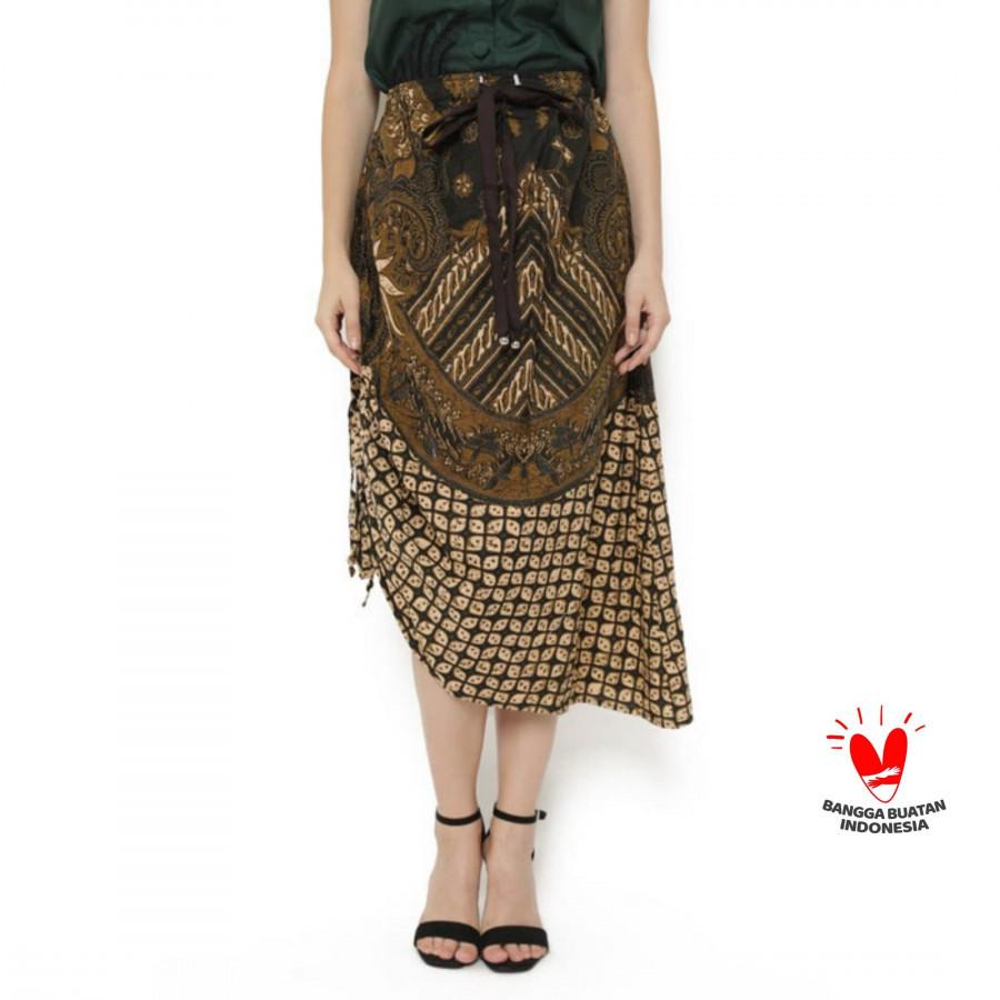 GESYAL ROK panjang  Serut Asimetris Batik Tulis. Dua gaya rok midi. Bisa serut gaya pendek
