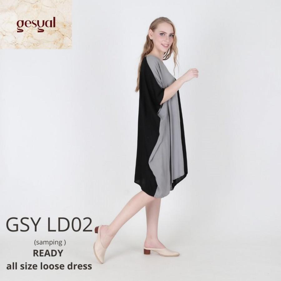 GESYAL BAJU TIDUR WANITA DASTER DRESS SANTAI POLOS GSY LD02 WORK FROM HOME