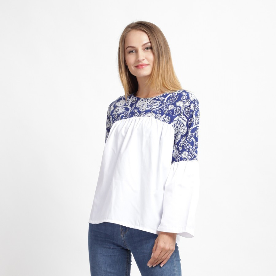 Batik Dirga Quentin Atasan Batik Wanita - White Blue
