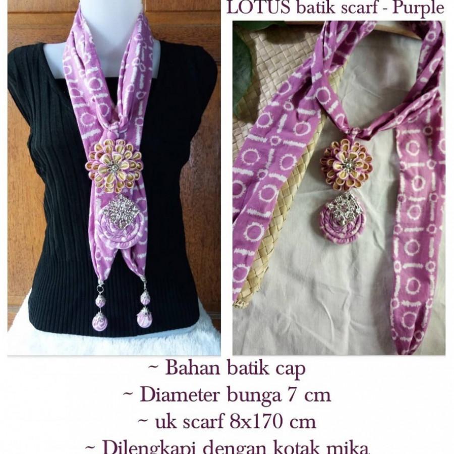 Kalung batik scarf LOTUS Purple
