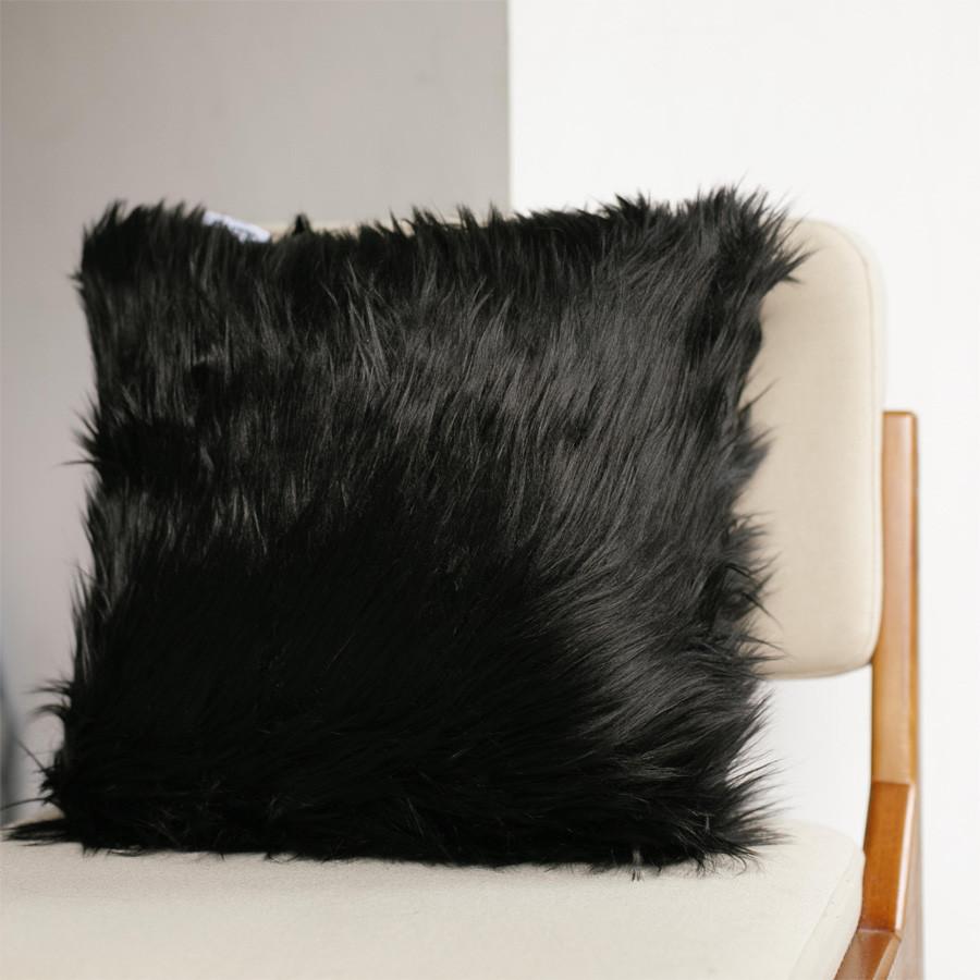 Black Fur Cushion 40 x 40