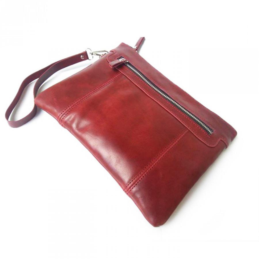 Clucth Handbag Kulit Asli Warna Merah Maroon Bergaransi - Dompet Pouch. Pouch Kulit. Clutch Kulit. Dompet Hp-