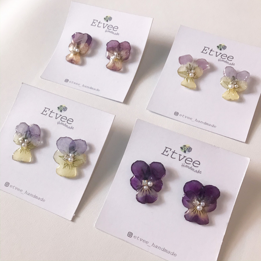 Pansy Flower Earring