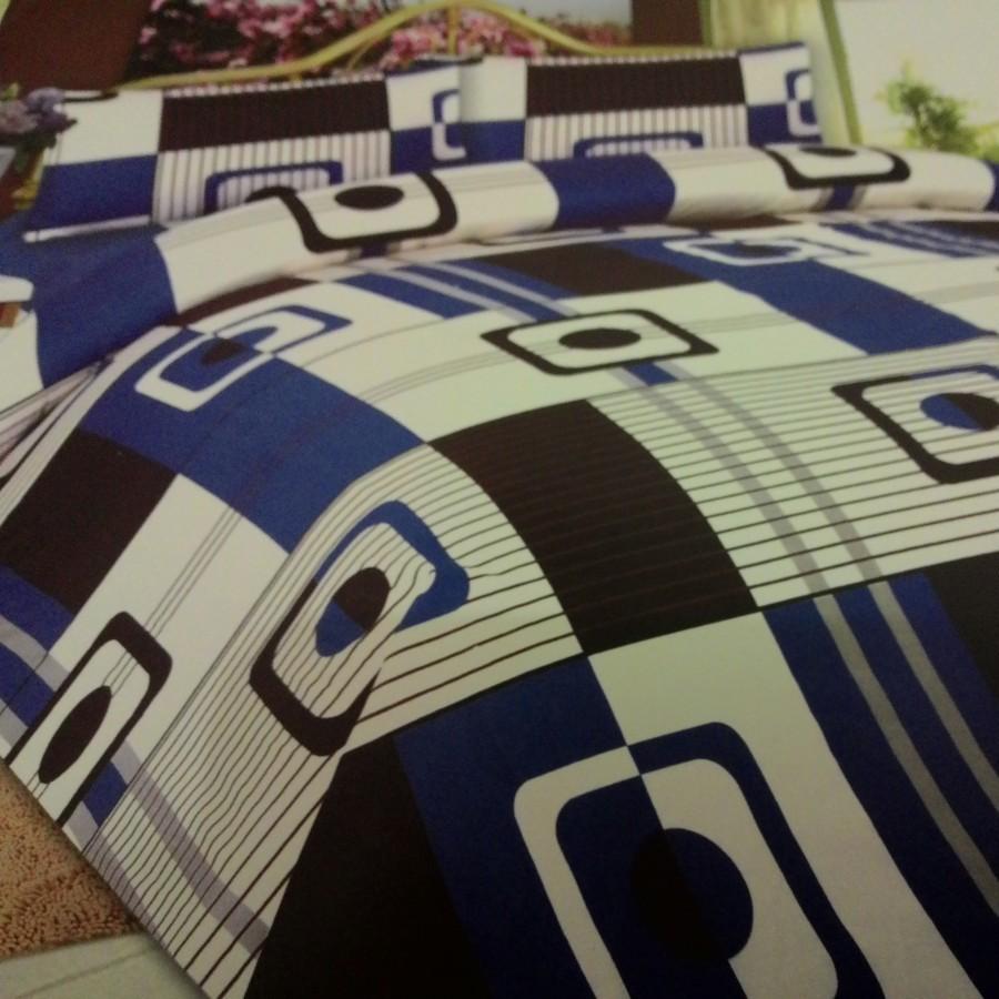 Bedcover set Cintaku Bshyy162 - Kombinasi biru putih hitam uk.180 cm