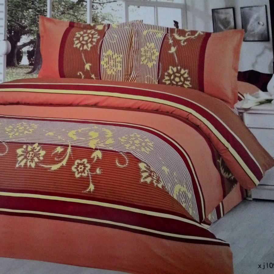 Bedcover set Cintaku Flower 01 - Kombinasi Orange cokelat uk.180 cm