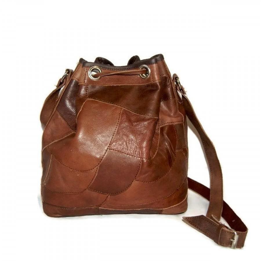 ... Tas Wanita Kulit Asli Jahit Sambung Serut Selempang - Drawstring Sling  Patchwork Leather Bag