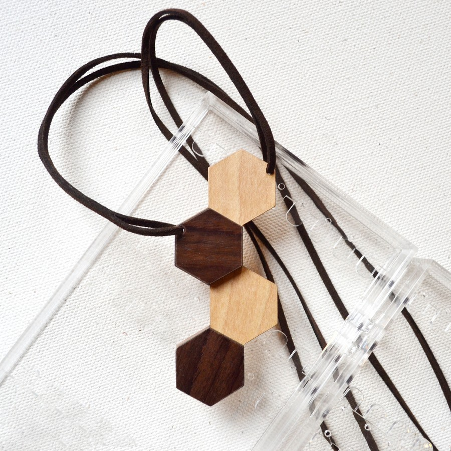 Hexagon Wooden Necklace (IV)