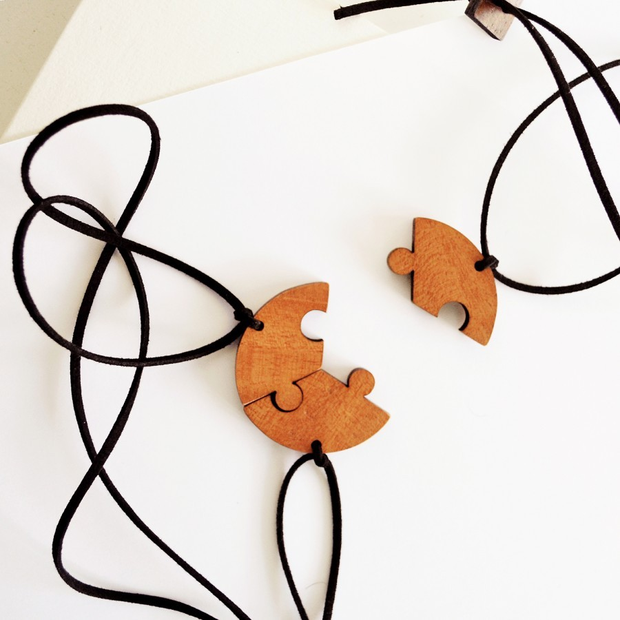 Puzzle Wooden Necklace (3 in 1)
