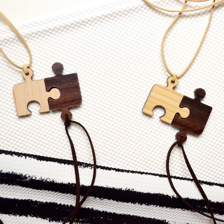 Puzzle Wooden Necklace (2 in 1)