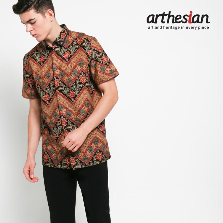 [Arthesian] Kemeja Batik Pria - Daun Zig Zag Batik Printing