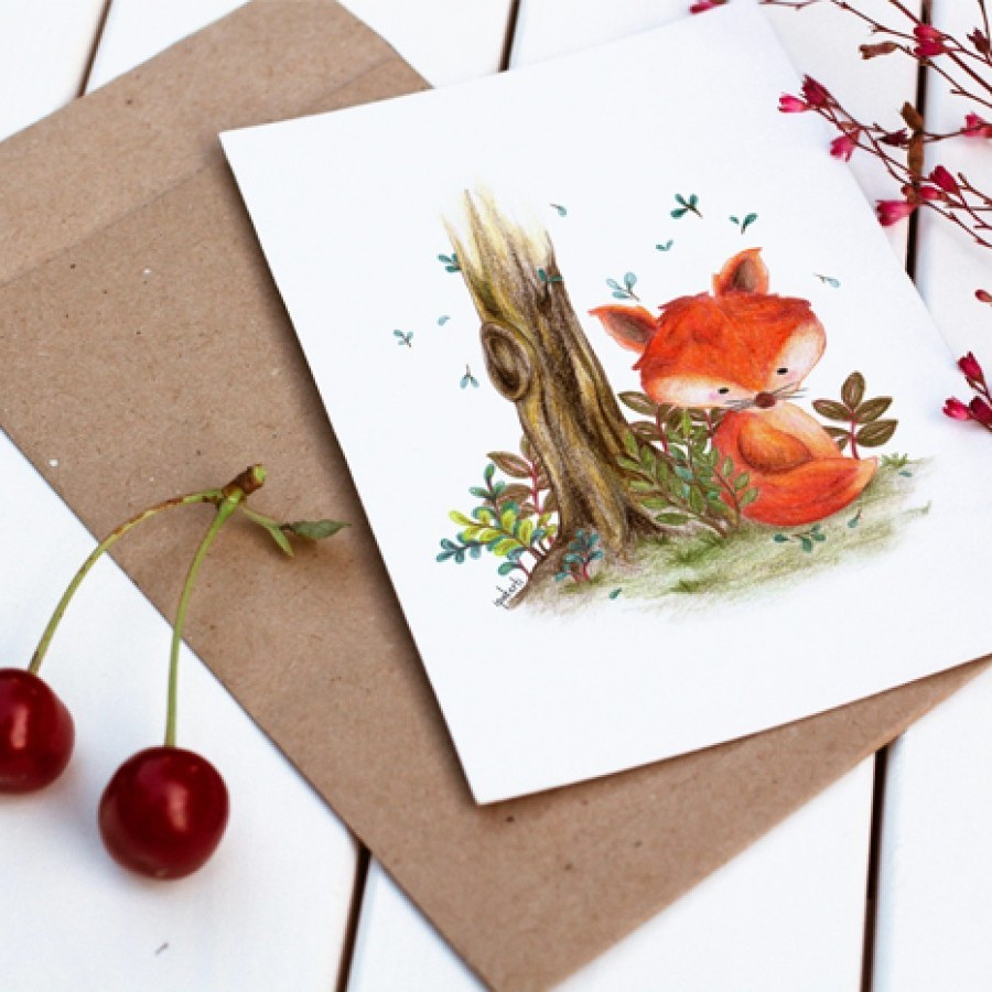 Little Foxy Postcard/ Kartu Pos ilustrasi