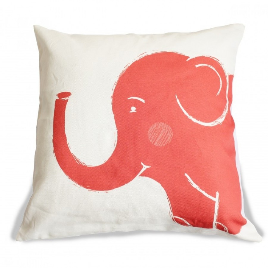 Cotton Canvas Cushion Cover Gajah Merah/Red Elephant