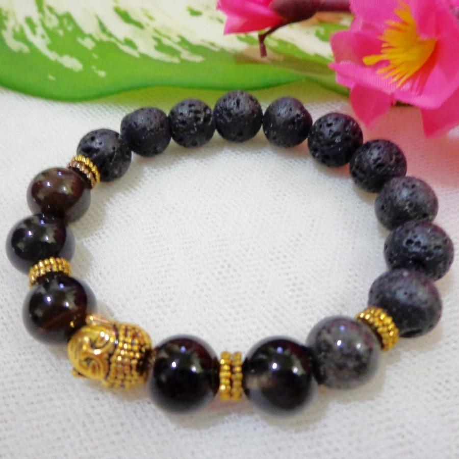Gelang AB10 Batu Lava, Onyx Skt Gold Buddha Classic