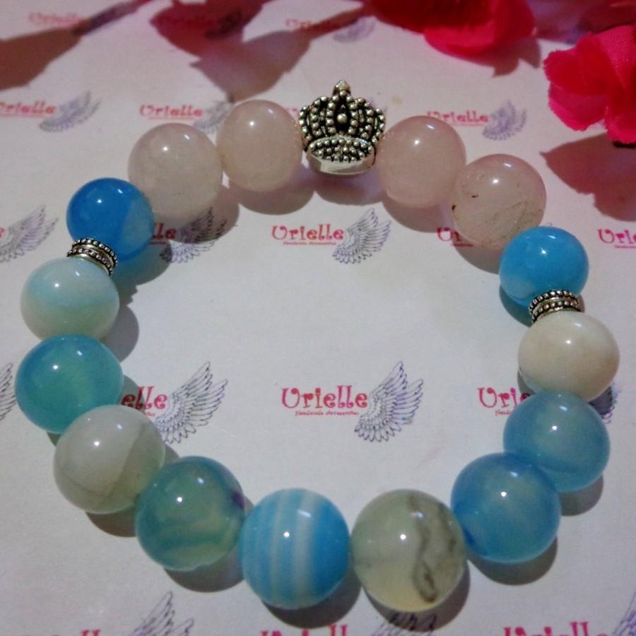 Gelang AB53 Batu Agate Soft Blue, Rose Quartz Skt Crown