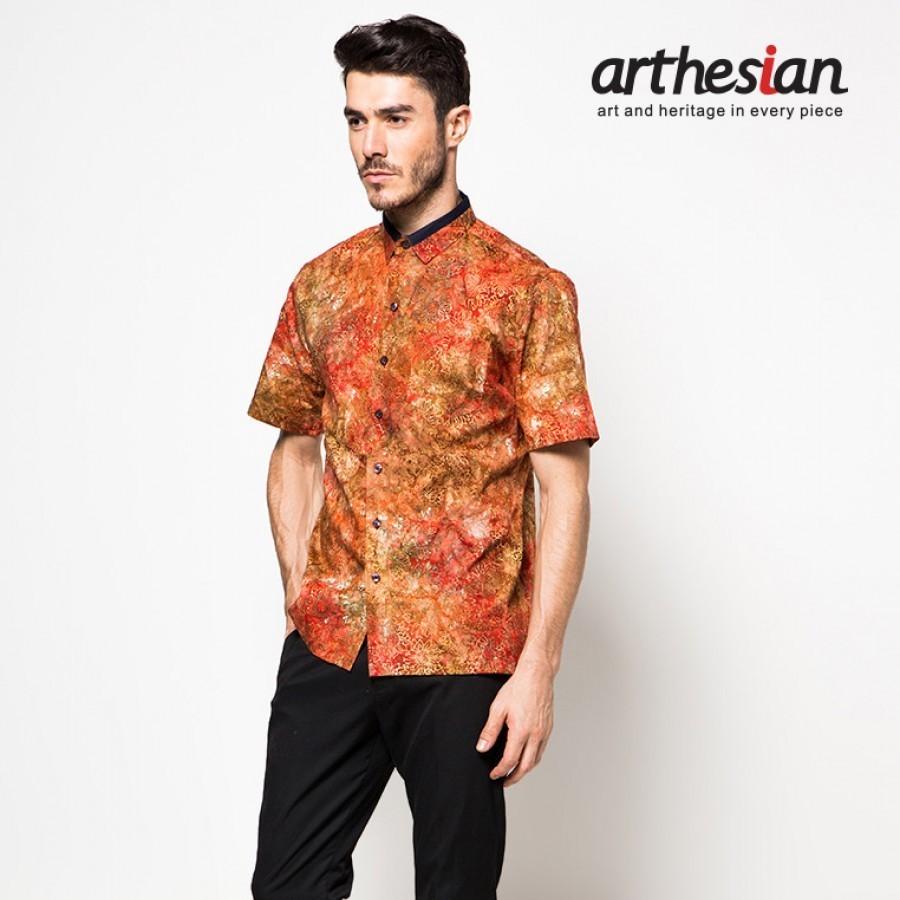 [Arthesian] Kemeja Batik Pria - Gerbera Red Batik Cap