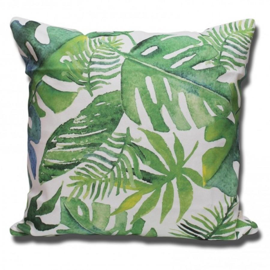 Cotton Canvas Cushion Cover Daun Monstera Hijau Ku Ka
