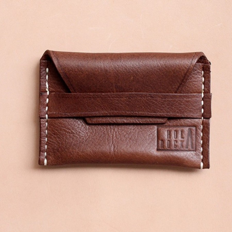 """Holarocka """"Ark 03"""" Dark Brown Pull Up Compact Leather Wallet"""