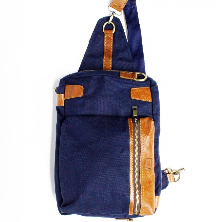 Holarocka Apollo 05 Sling Bag - Canvas x Brown Aniline Pull Up Leather