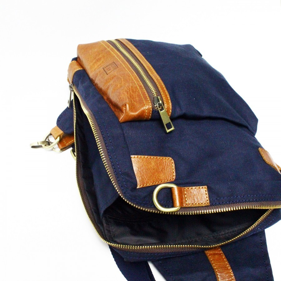 ... Holarocka Apollo 05 Sling Bag - Canvas x Brown Aniline Pull Up Leather  ... 114f9caaad