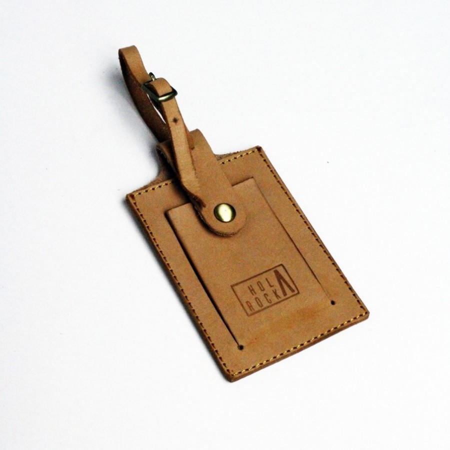 Holarocka Rocka 03 Luggage Tag - Natural Vachetta Leather