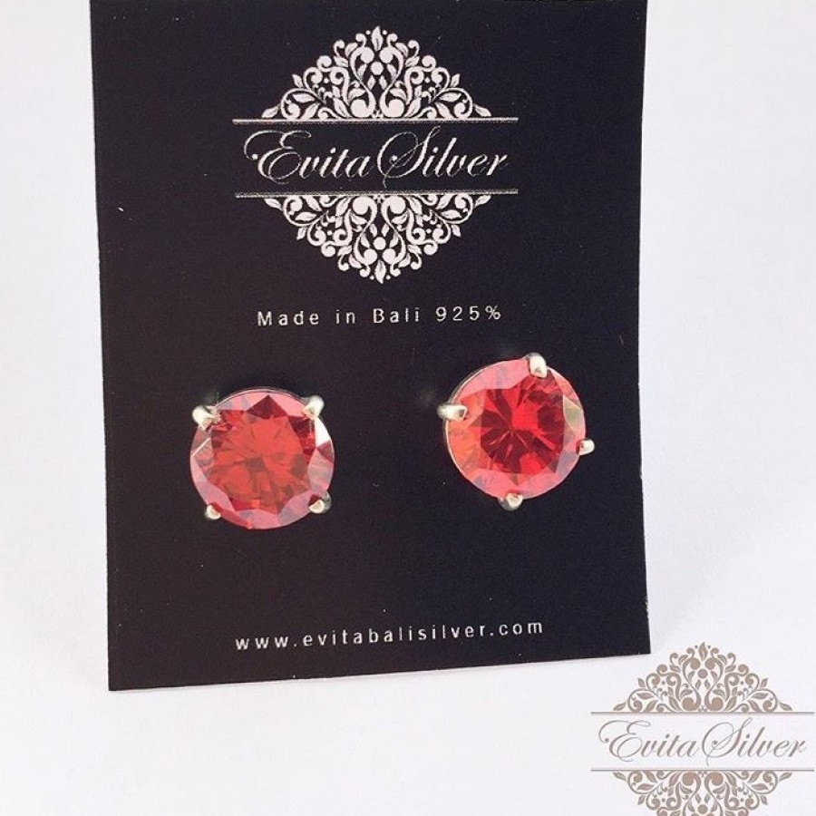 925 Silver Earring With Ruby