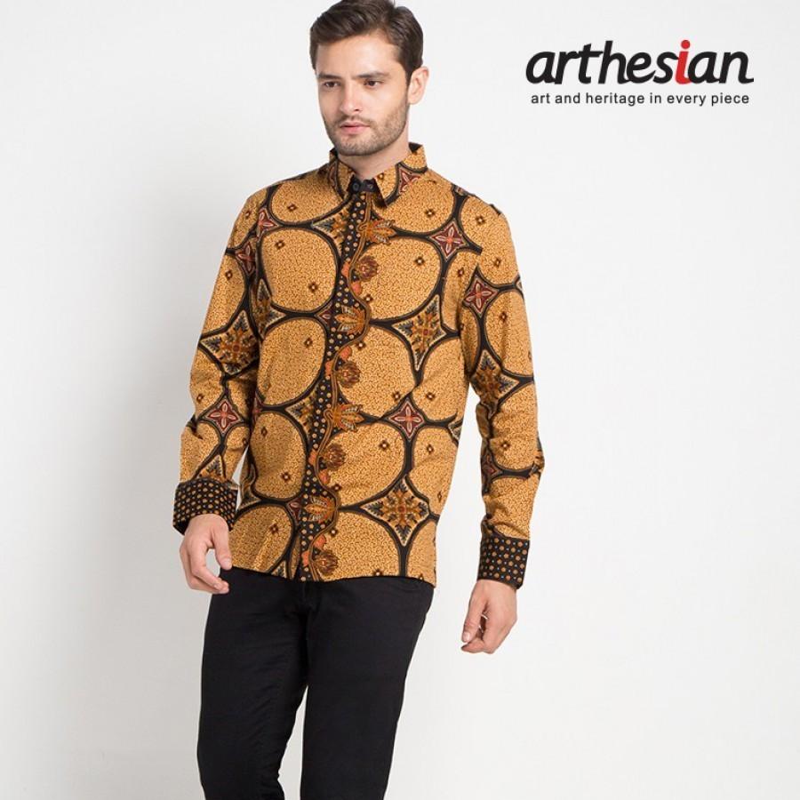 [Arthesian] Kemeja Batik Pria - Kawung Circlet Batik Printing