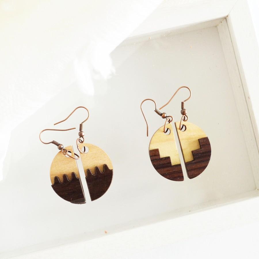 Moon Wooden Earrings