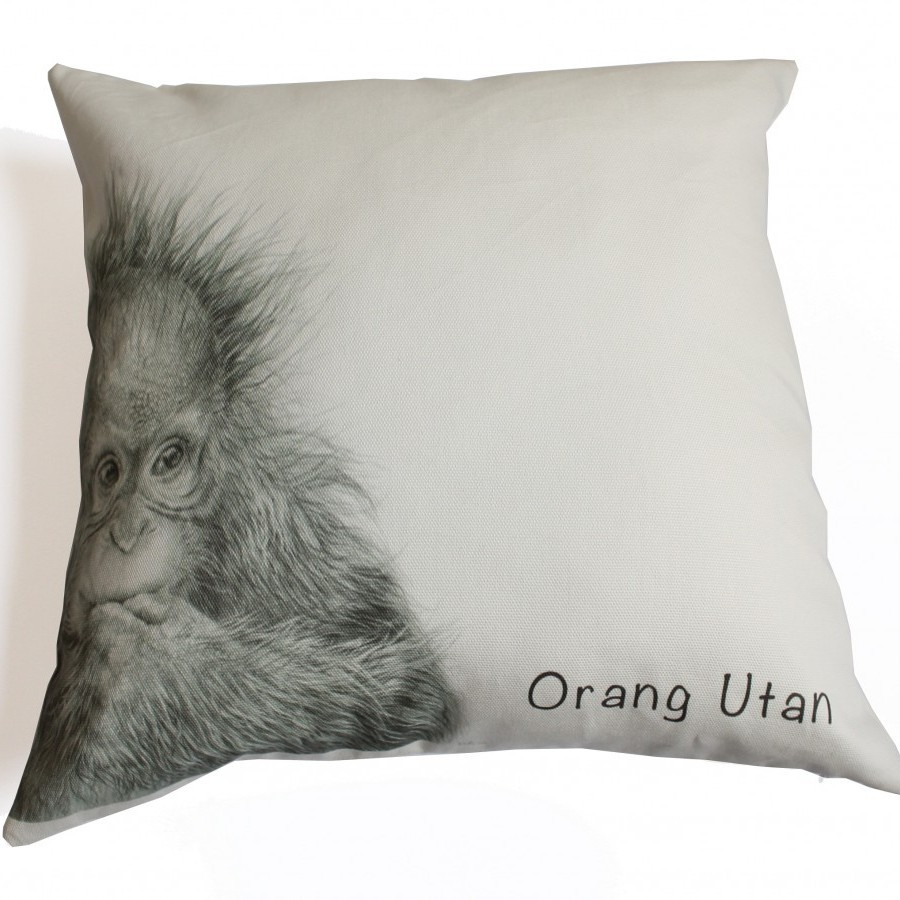 Cotton Canvas Cushion Cover Orang Utan