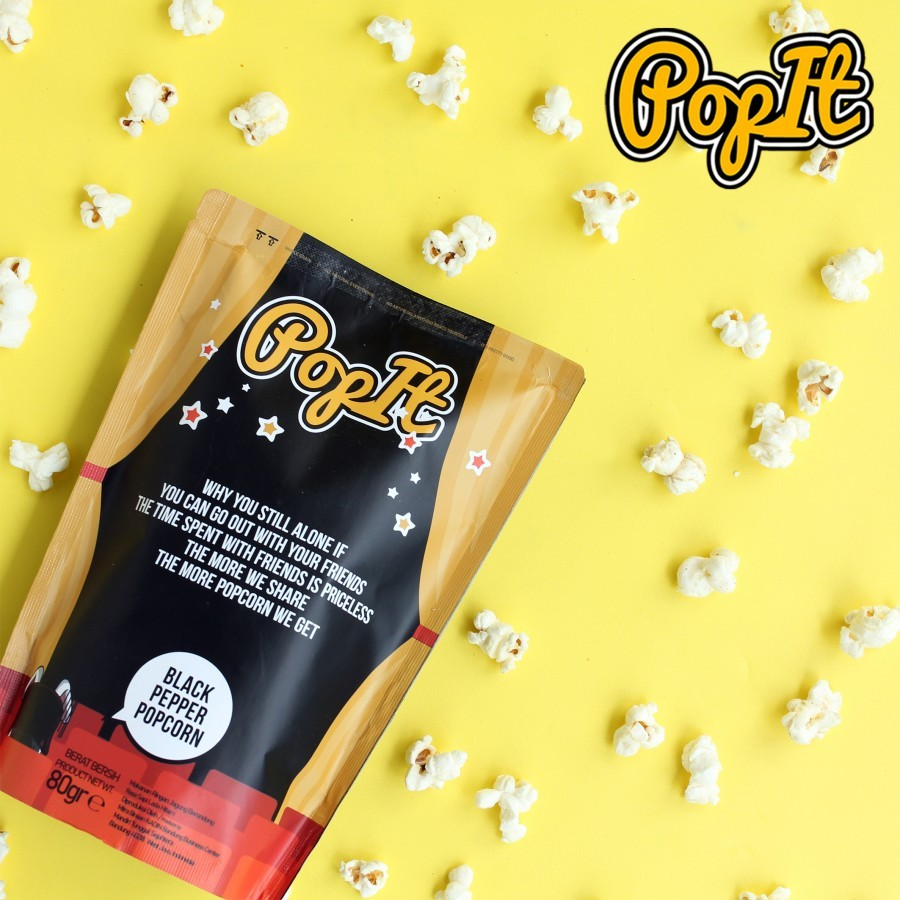 PopIt Snack Black Pepper Popcorn /Rasa BBQ / Sapi Panggang Lada Hitam