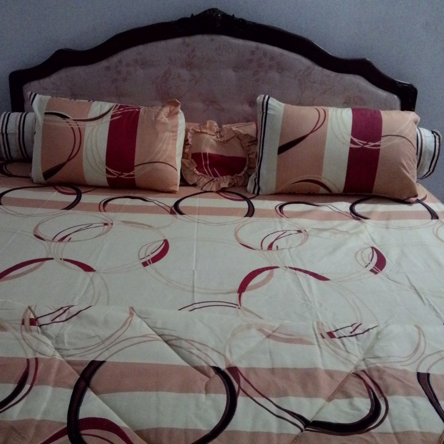 Bedcover set Cintaku Rings 01 - Kombinasi Cream kuning merah uk.180 cm