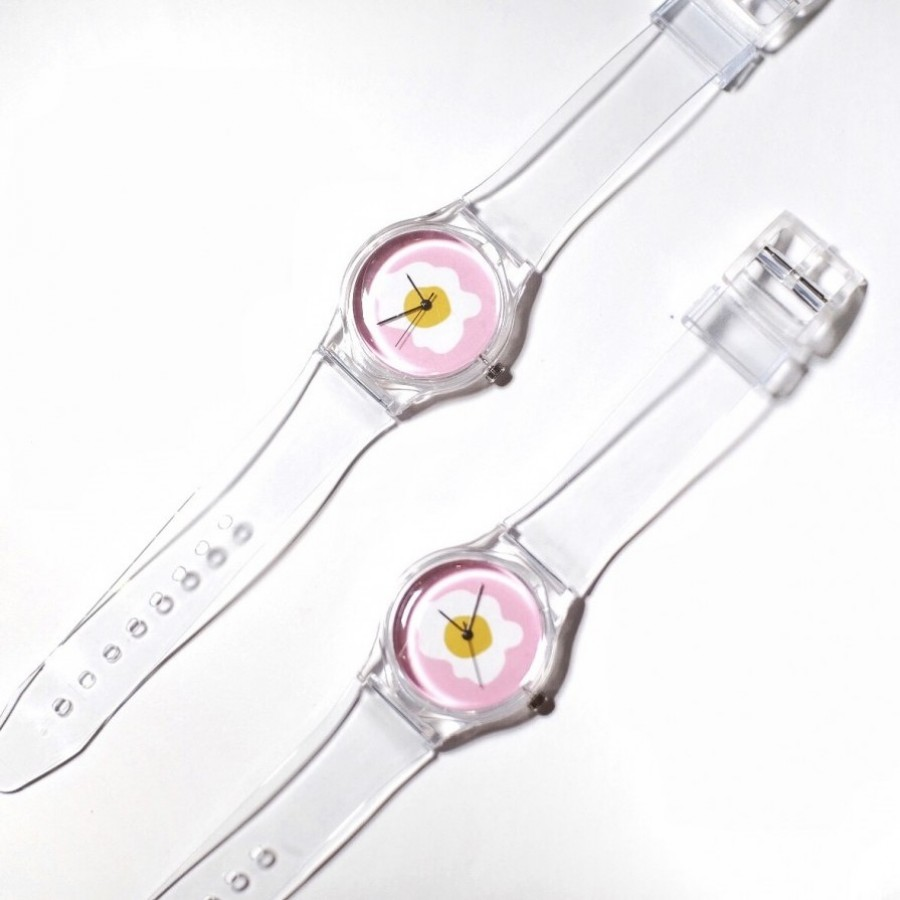 Sunny side up clear wrist watch