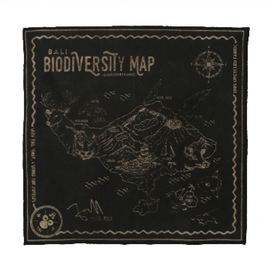 Sapu Tangan/Slayer/Bandana/Handkerchief Biodiversity Map Bali Daur Ulang untuk Hutan Warna Alami