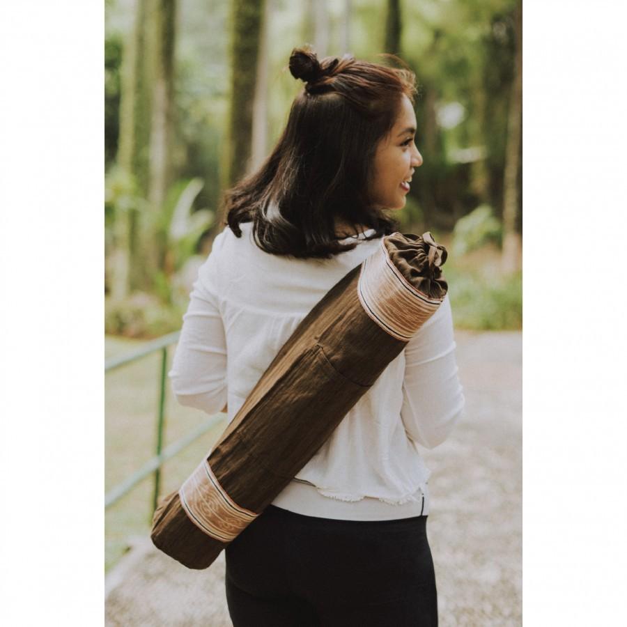 Tas Matras Yoga {Yoga Mat Bag} - Tenun Kalimantan Pewarna Alami - Coklat {DAYAK IBAN}