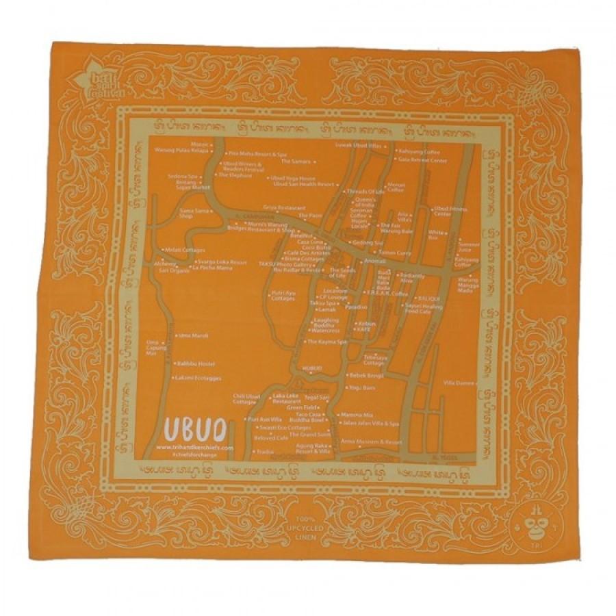 Sapu Tangan/Slayer/Bandana/Handkerchief Peta Ubud Bali Daur Ulang untuk Hutan (Warna Solid)