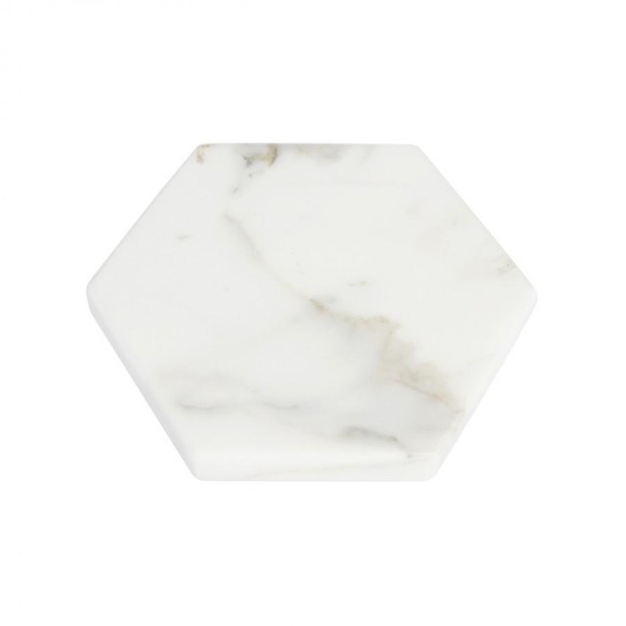 Hexagon White Moonstone Marble D20