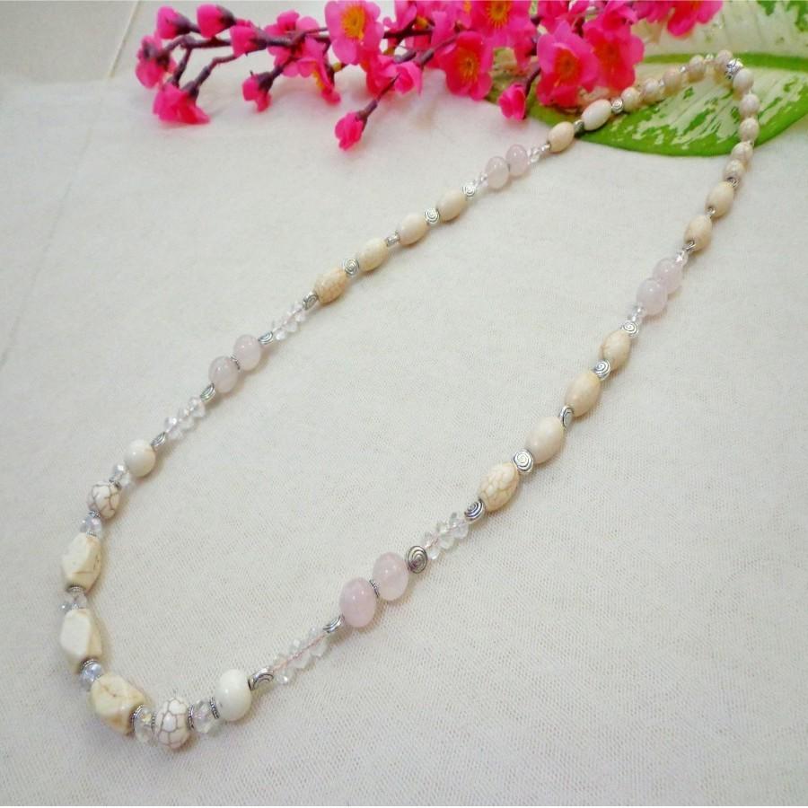 Kalung B017 batu Rose Quartz Hijau, Turquois Putih & Kristal Putih - Panjang