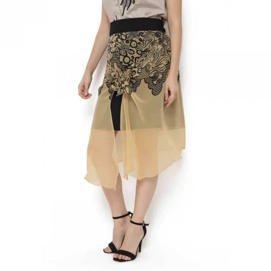 ROK midi motif batik Gesyal. Multi gaya. Diikat tengah atau dilepas menjuntai .