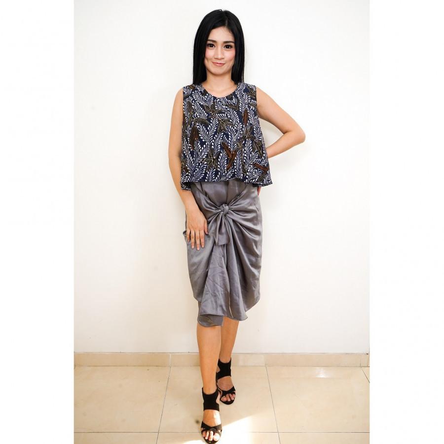 GESYAL Ikat Midi Dress Batik Wanita - Biru