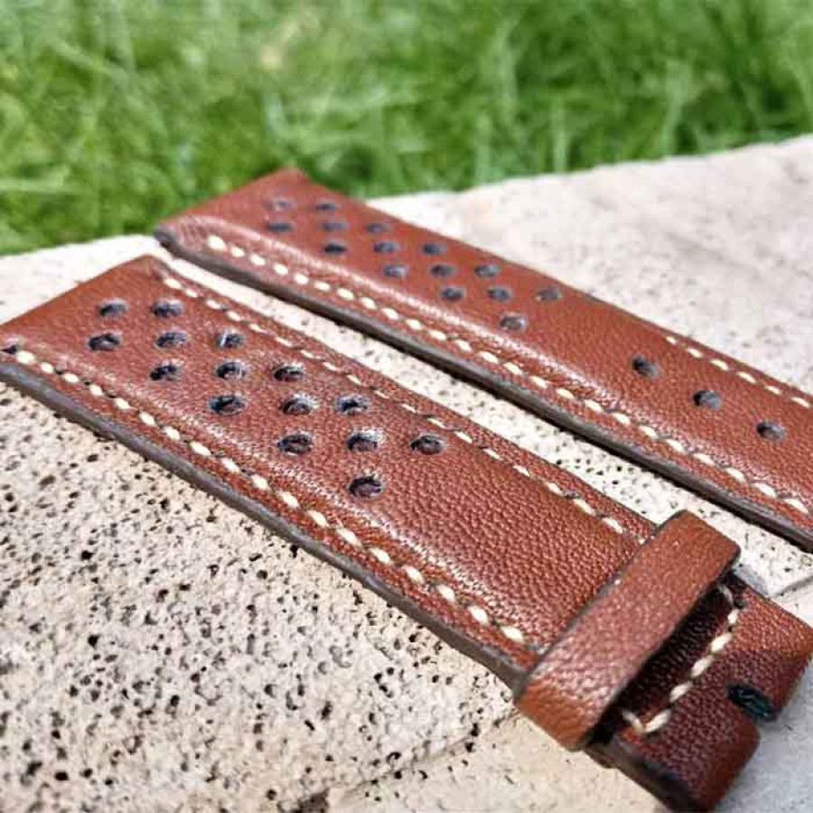 Tali Jam Kulit Asli Domba Handmade Quick Release Warna Cokelat size 16 mm. 18 mm. 20 mm. 22 mm. 24 mm. 26 mm GARANSI 1 TAHUN - Rally Watch Strap