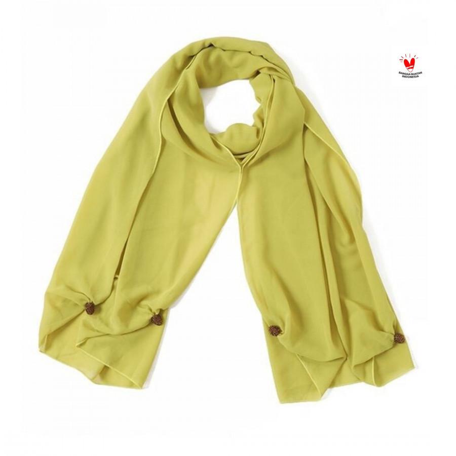 GESYAL Syal scarf Sifon polos Lime kuning Bahan minim setrika tidak mudah kusut