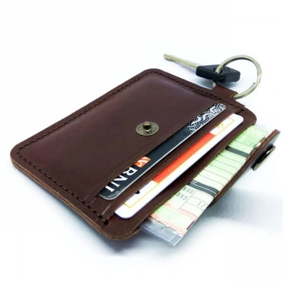 Dompet STNK Kulit Asli Model Simpel Warna Coklat - Dompet Kunci Mobil Motor STNK Kartu SIM Etoll E Money