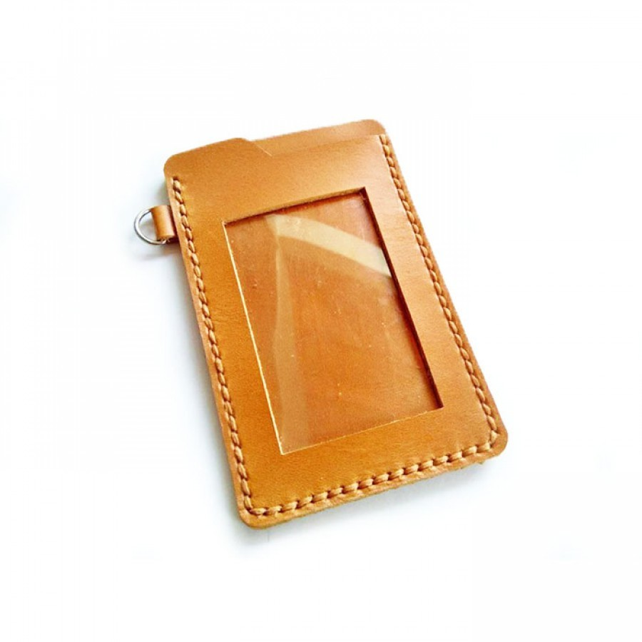 Name Tag Id Kulit Asli Warna Tan - Tempat Id Card. Gantungan Id Card -