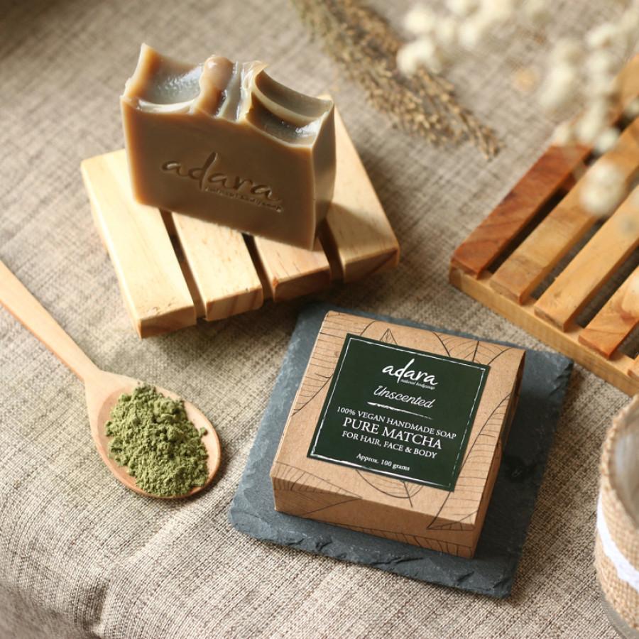 Adara Organic Handmade Pure Matcha Soap - Unscented